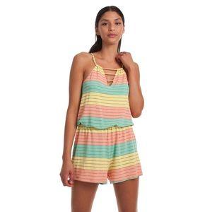 NWT Trina Turk Striped Rainbow Lurex Romper Sz S